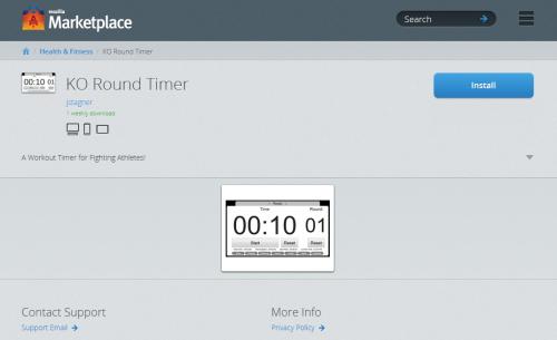 Mozilla Marketplace App Listing Page