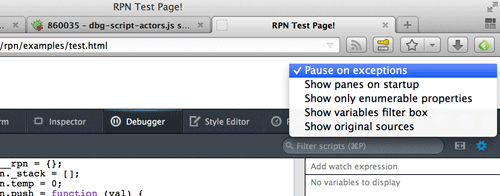 Screenshot of enabling pause on exceptions.