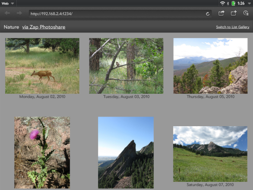 photo gallery: thumbnail grid
