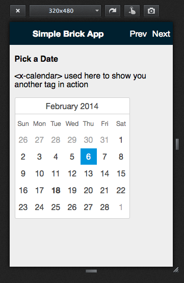 <x-calendar> example in our demo application