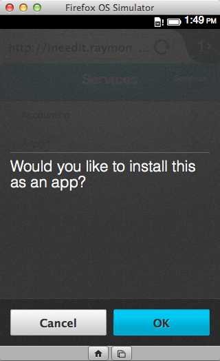 FF OS prompting you to install the app