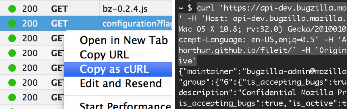 Copy as cURL in Network tool