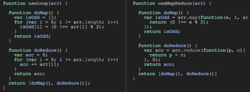 Left: using ordinary loop; Right: using map & reduce