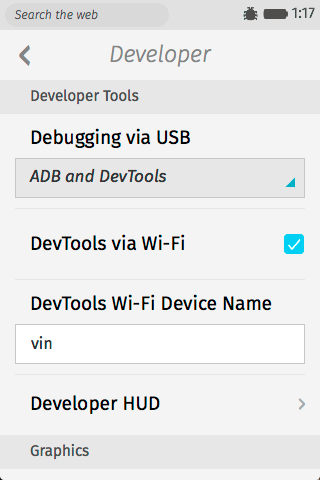 Firefox OS WiFi Debugging Options
