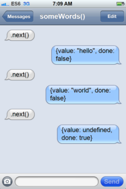 (A fake screenshot of iPhone text messages between a generator and its user, with the user just saying 'next' repeatedly and the generator replying with values.)