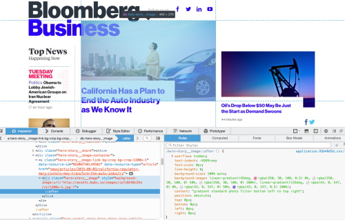 Screenshot of bloomberg.com's CSS with a CSS gradient