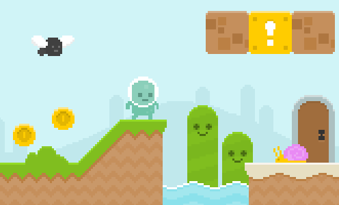Mockup of a tile-based game - by Kenney