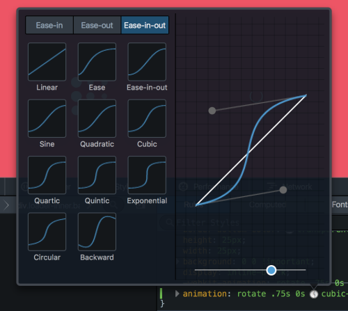 Screenshot of the visual cubic-bezier curve editor