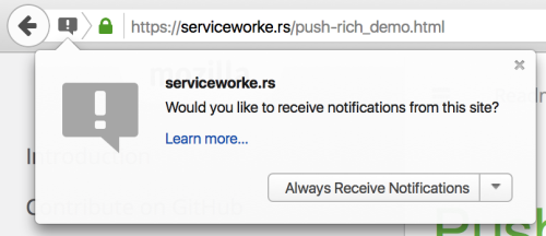 Screenshot of the in-browser Push Notification permissions prompt