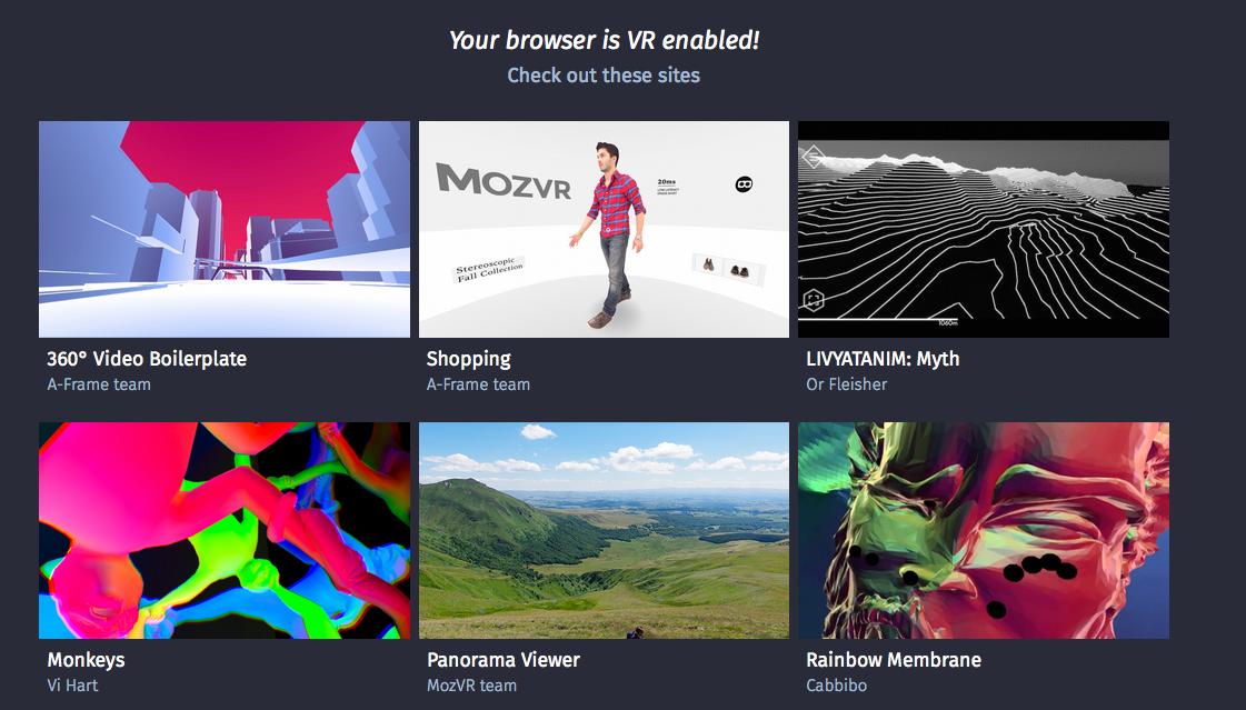 WevVR コンテンツが並ぶカタログサイト