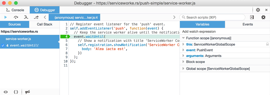 Debugger stopped at the push event listener