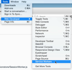 Accessing about:debugging using the application menu
