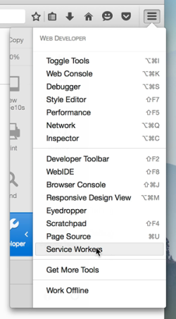 Accessing about:debugging with toolbar menu