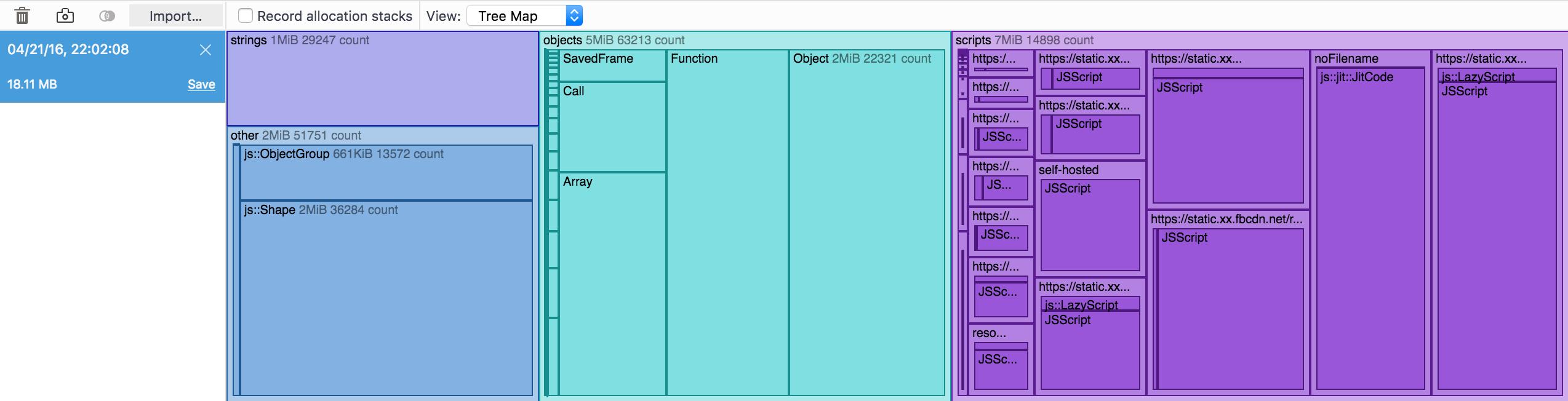 メモリの使用状況をツリーマップで表示している様子