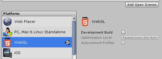 Build Settings で WebGL を出力プラットフォームに選択する