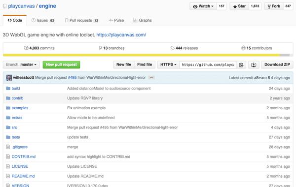 PlayCanvas の GitHub レポジトリ