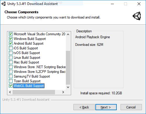 インストールする Unity コンポーネントの選択画面。WebGL Build Support と Windows Build Support にチェックを入れている。