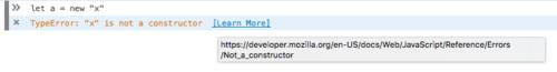 エラーを解説する MDN ページへのリンクが表示されているコンソール