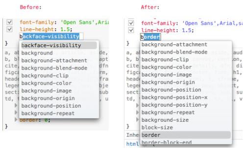 CSS属性候補の表示方法の比較