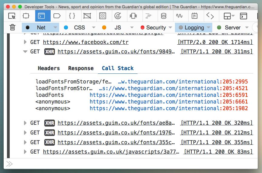 HTTP リクエスト送信時のスタックトレースが、コンソールに表示されている