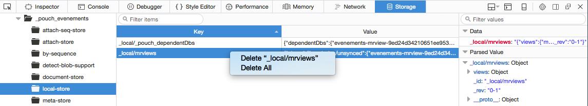 コンテキストメニューから、IndexDB 中の項目を削除する様子