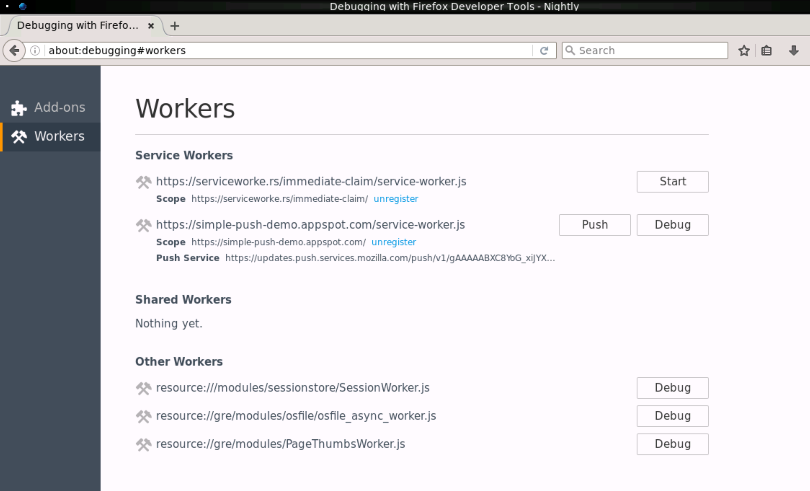 about:debugging#workers の画面