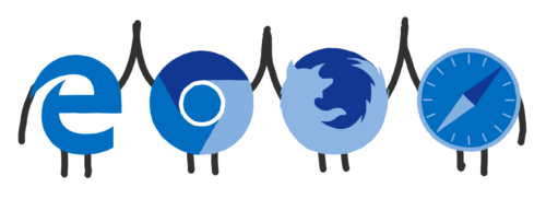 Personified logos of 4 major browsers high-fiving