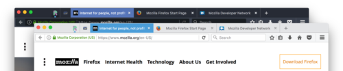 Screenshot of the new compact themes in Firefox
