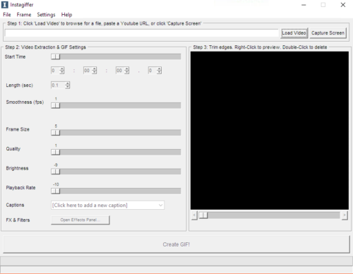 A window with three sections for choosing the video, settings and preview