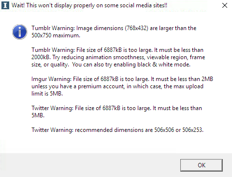 The notice shows warnings for Tumblr, Imgur and Twitter, pointing out problems with sizes and dimensions