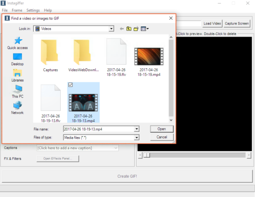 When clicking load video, the Windows file selection dialog appears