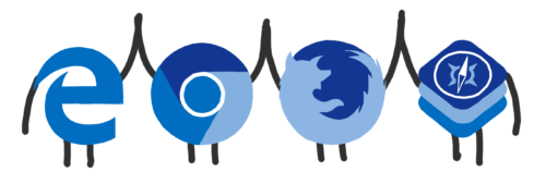 Logos of the major browsers high-fiving