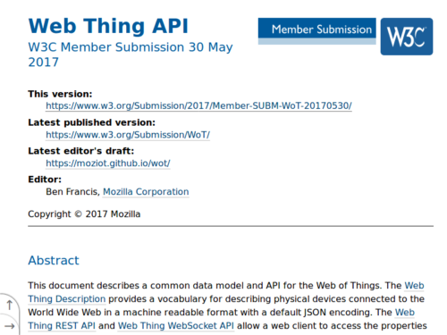 Web Thing API spec - Member Submission