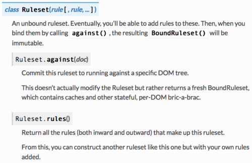 (Ruleset class with extracted documentation, including member functions)