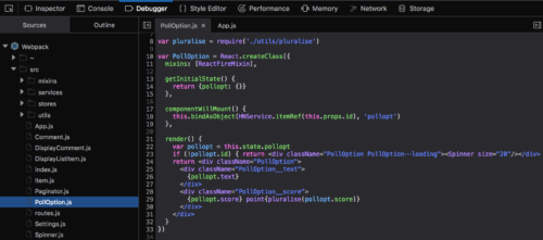 Screenshot of the Debugger showing JSX syntax highlighting for a React component