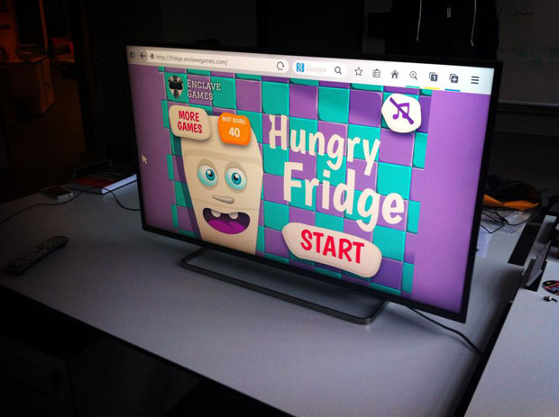 Screenshot of Hungry Fridge web game on the desktop