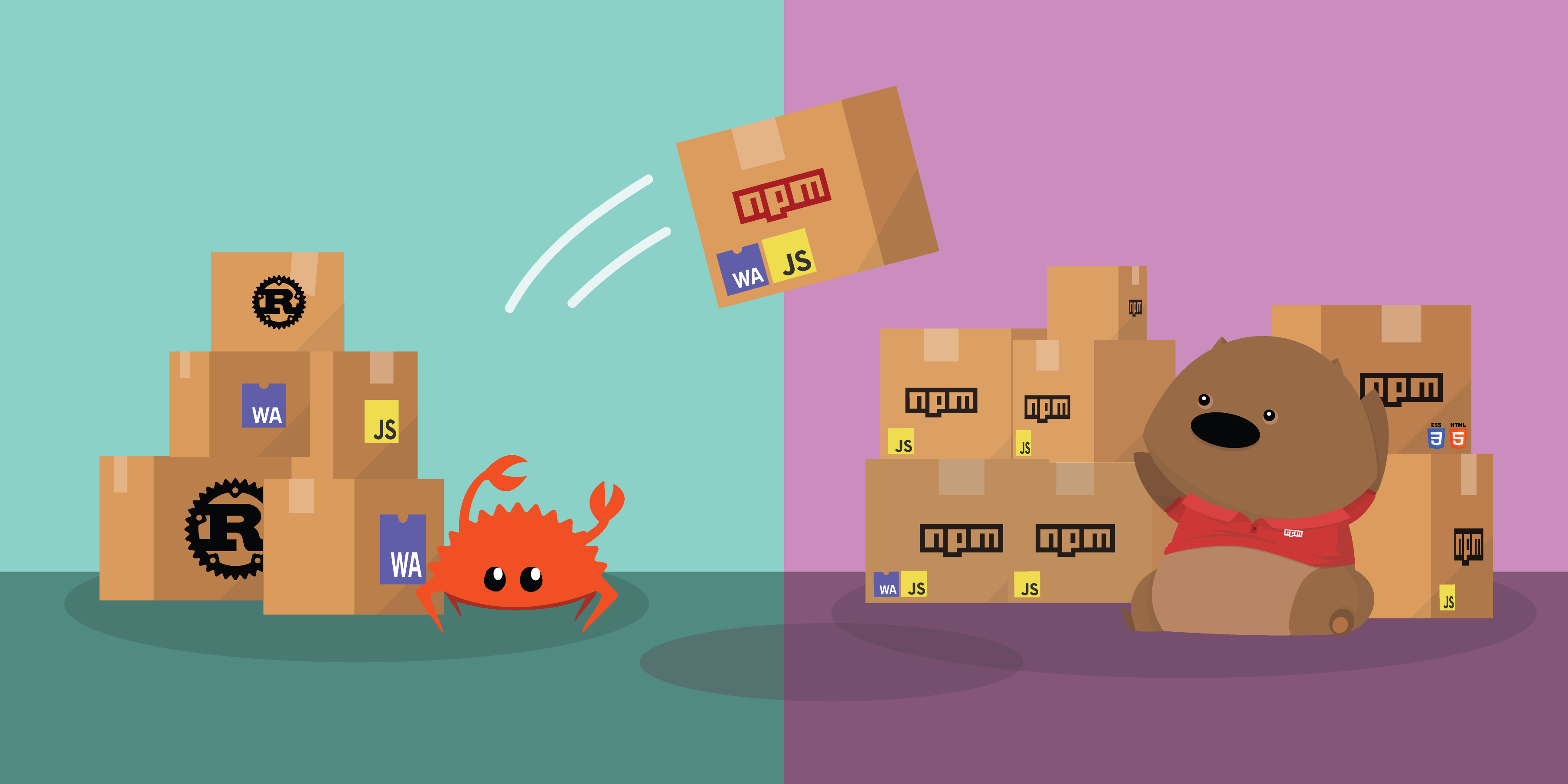 2 panels, one showing ferris the crab with assorted rust and wasm packages and one with the npm wombat with assorted js wasm and css/html packages. the crab is throwing a package over towards the wombat