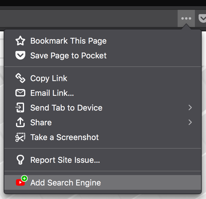 "Screenshot of the OpenSearch ""Add Search Engine"" item in the page menu"