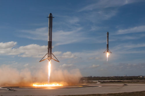 Falcon Heavy rockets moments from landing