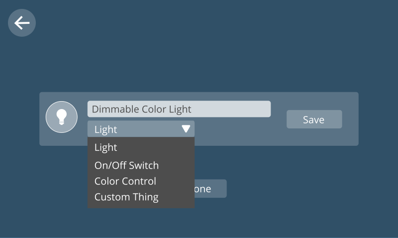 Image showing the UI for choosing capabilities from a dropdown menu