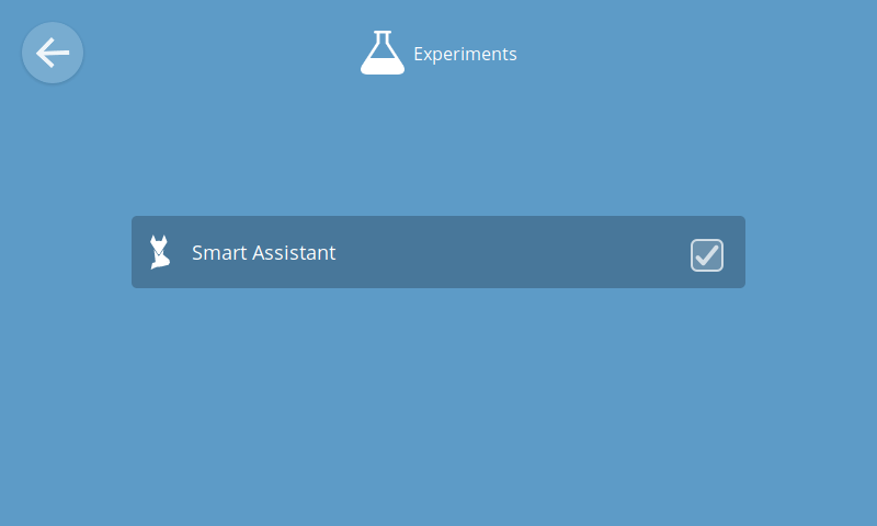 UI for enabling the smart assistant