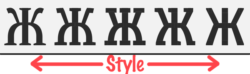 "Illustration of the Slovic font's letterforms morphing with different values of the ""style"" variable font axis"