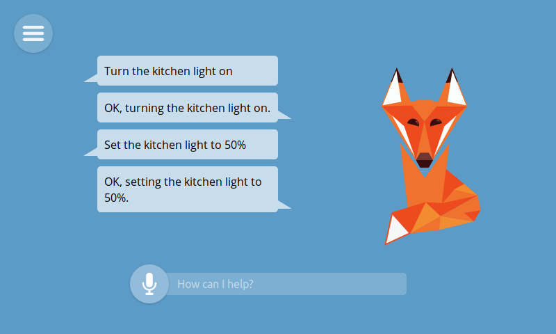 Image of the foxy smart assistant and examples of voice and text interactions