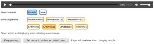 LPCNet samples screenshot