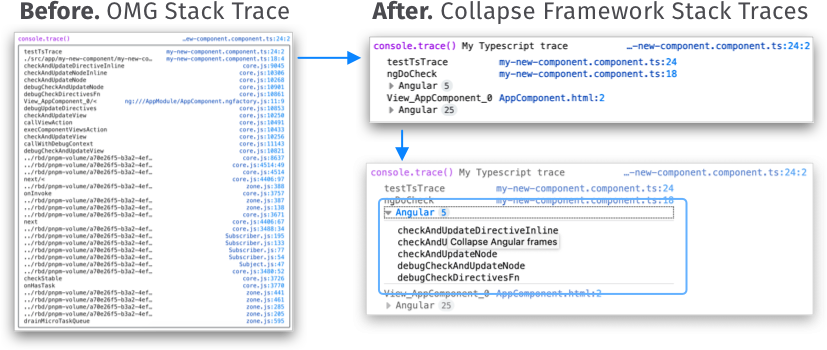 Before and after version of stack traces in console.