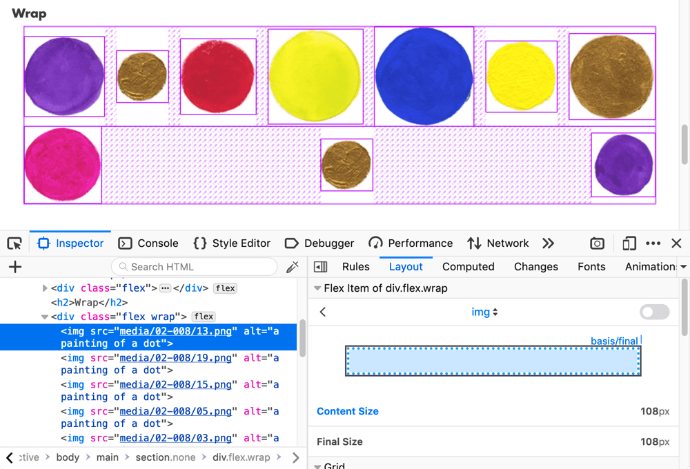 The Firefox 65 Flexbox inspector showing several images of colored circles laid out using Flexbox