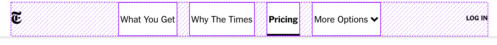 NYTimes header with Flexbox overlay