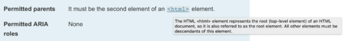 A rendered link to documentation for an HTML element, displaying a tooltip containing a summary of the linked documentation.