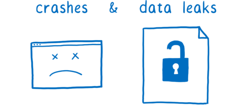A frowning terminal window indicating a crash, and a file with a broken lock indicating a data leak