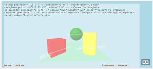 a screenshot from A-Frame showing pink parallelogram, green cube, and yellow cylinder